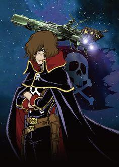 The Zero Century : Harlock (Production GoodBook / Gainax) Manga Anime, Sci Fi Anime, Space Pirate Captain Harlock, Captain My Captain, Spaceship Art, Fanart, Equador, Japanese Cartoon, Science Fiction Art