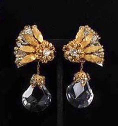Miriam Haskell Crystal Prism & Rhinestone Earrings