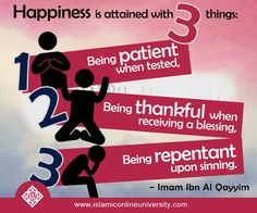 Happiness is attained with 3 things: 1. Being patient when tested, 2. Being thankful when receiving a blessing, 3. Being repentant upon sinning. [Ibn Al Qayyim]