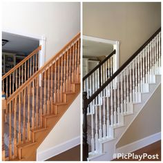 oak-staircase-makeover-evoxinterior-banisterremodel-stairs-makeover-banisterre/ - The world's most private search engine White Staircase, Staircase Railings, Banisters, Staircase Design, Stairways, Staircase Ideas, Staircase Bookshelf, Stairs Trim, Redo Stairs