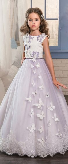 Unique Tulle & Satin Jewel Neckline A-Line Flower Girl Dresses With Lace Appliques