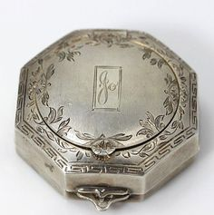 Antique Vintage Sterling Silver Etched Compact