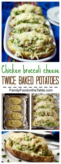 Fast cheesy chicken and broccoli twice-baked potatoes - a shortcut helps get this all-in-one dinner on the table faster! | FamilyFoodontheTable.com