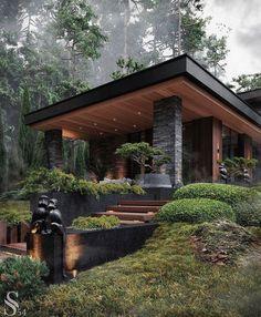 Dream Home Design, Modern House Design, Modern Architecture House, Architecture Design, Casas The Sims 4, Luxury Homes Dream Houses, Dream Homes, Forest House, Dream House Exterior