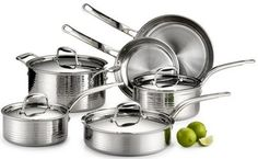 Buy this Lagostina Q553SA64 Martellata Tri-ply Hammered Stainless Steel Dishwasher Safe Oven Safe Cookware Set with deep discounted price online today.