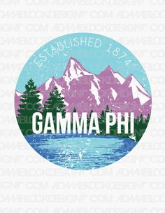 Gamma Phi Beta Vintage Mountains Tee by ABD BlockBuy! Adam Block Design | Custom Greek Apparel & Sorority Clothes |www.adamblockdesign.com