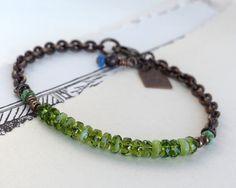 Bottle green bracelet. Czech bracelet. Green by chickandcharming. $23.