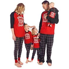 7569afd92e Famiglia Natale Pigiama Matching 2PCS Set Donna Mamma Lettera Stampa Top  Camicetta Pantaloni Lunghi Famiglia Pigiama Set Completo #pigiamini ...
