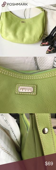 """Lambertson Truex Leather Hobo Large Bag Lambertson Truex for Tiffany & Co Large Leather  HoBo Shoulder Bag in very pretty Cilantro color.   Excellent preowned condition almost like new small smudge on back shown.   W18"""" H 10""""  Strap Drop 7"""". Lambertson Truex Bags Hobos"""