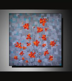 Original Fine Art, Palette Knife Textured Red Orange Flowers, Acrylic Painting 20x20 Abstract Landscape Ready to Hang Modern Artwork. $165.00, via Etsy.