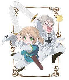 """Young Erzsébet and Gilbert - Art by あやなし Hahahaha, Gilbird tho...""""Weeee~!"""""""