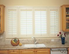 Kitchen Window Blinds Peculiar Look : Window Blinds For Kitchen. Window blinds for kitchen. more window treatments ideas Kitchen Window Blinds, Kitchen Shutters, Window Blinds & Shades, Interior Window Shutters, Curtains With Blinds, Shutter Blinds, Kitchen Windows, Custom Shutters, Wooden Shutters