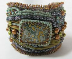 Shibori ribbon bead embroidered bracelet - part two