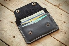 Leather Personalized slim wallet for cards & folded cash