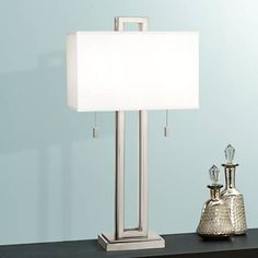 Possini Euro Design Brushed Nickel Rectangle Table Lamp - #77738 | Lamps Plus