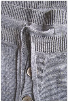 Drawstring detail of the Metallic Silver Linen Long Johns