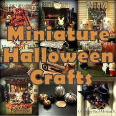 Lots of Miniature Halloween crafts tutorials for dollhouse, calico critters/Sylvanian Families/Blythe etc Halloween Fairy, Halloween Village, Halloween Haunted Houses, Halloween House, Holidays Halloween, Halloween Crafts, Halloween Decorations, Halloween Vampire, Halloween Ideas