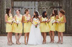 sunny yellow bridesmaid dresses | Amelia + Dan #wedding