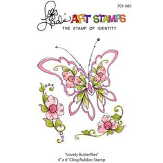 Lovely Butterflies Rubber Stamp