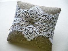 Wedding ring pillow Linen ring pillow Lace ring pillow Wedding accessory by InColours on Etsy https://www.etsy.com/listing/199782965/wedding-ring-pillow-linen-ring-pillow