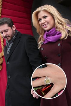 """Kelly Clarkson and Brandon Blackstock The recently engaged Kelly Clarkson said """"yes"""" after she was presented with this huge yellow diamond ring."""