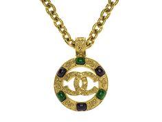 Chanel Vintage Gold Round Pendant Necklace