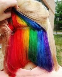 Hidden Rainbow Hair - color combinations and styling ideas for the cool hair color trend - # . - Hidden Rainbow Hair – color combinations and styling ideas for the cool hair color trend - Hair Dye Colors, Cool Hair Color, Weird Hair Colors, Hidden Hair Color, Hidden Rainbow Hair, Underlights Hair, Coloured Hair, Grunge Hair, Crazy Hair