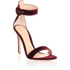 Gianvito Rossi Burgundy velvet Portofino sandal ($815) ❤ liked on Polyvore featuring shoes, sandals, red, burgundy sandals, red velvet shoes, high heel stilettos, red stilettos and ankle strap stilettos
