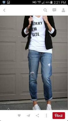 Boyfriend jeans and sneakers