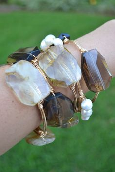 Gold+wire+wrapped+bracelet+bangle+with+Smoky+by+SunandStoneJewelry,+$33.00