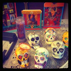 Dia de Los Muertos skulls and alters