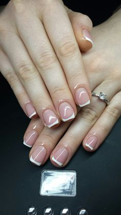 white short  french nails