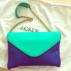 J crew leather clutch Great J crew leather clutch! In excellent condition. Measures 7h x 11w x 0.5d (inches). Can be used with the shoulder chain or as a clutch. Feel free to ask questions! Thanks. J. Crew Bags Clutches & Wristlets