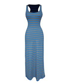Look at this Peach Couture Blue & Gray Stripe Racerback Maxi Dress on #zulily today!