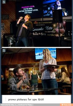 Demon!Dean drinking and doing bad karaoke in 10x01. Oh my.
