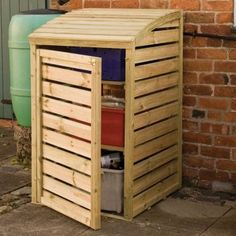 Rowlinson Wooden Garden Box Store - Patio Storage If you are looking to tidy up you Recycling Bin Storage, Patio Storage, Outdoor Storage, Yard Tool Storage Ideas, Built In Storage, Storage Bins, Wooden Garden Boxes, Buy Shed, Garden Furniture Sale
