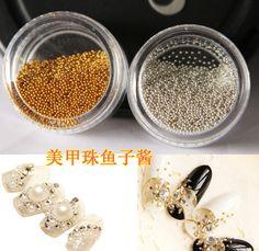 Rueda Tiny Circle Bolas de La Decoración de Plata de Oro Del Arte Del Clavo 3D Caviar