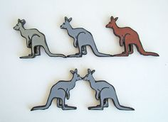 Wooden Hand Painted Mob of Kangaroos Australian Folk Art