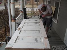 Porch Swing from Old Doors – A Guy, A Girl, and a Really Old House! Farmhouse Porch Swings, Porch Bed, Cabin Porches, Diy Porch, Front Porches, Door Bed, Outdoor Rooms, Outdoor Living, Outdoor Kitchens