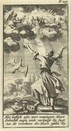 Jan Luyken | Vrouw luistert met gespreide armen naar het engelenkoor in de wolken boven haar, Jan Luyken, Gijsbert de Groot, 1691 | Prent rechtsboven gemerkt: F. 209.