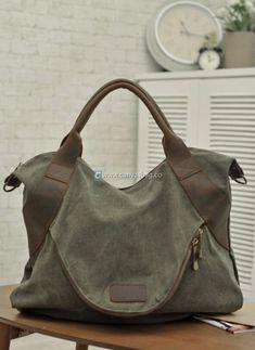 Large Capacity Shoulder Bag Leather Canvas Bag (11)