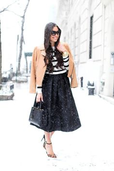 #Winter #Black And White Striped Sweater #Long A line Skirt #Black Maxi Skirt