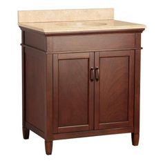 Foremost Ashburn 31 in. W x 22 in. D W Vanity in Mahogany and Vanity Top with Stone effects in Oasis-ASGASEO3122 at The Home Depot $400