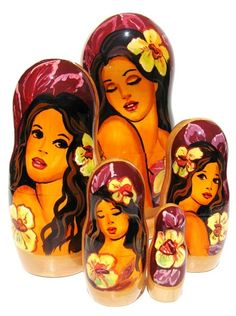 "Hawaii Russian Nesting Dolls (5-pc) 7""H"