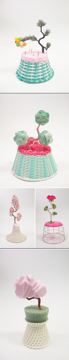 Amy Santoferraro. Not only is the title of this series hilarious, but all of the pieces are just so fun! Thrift-shopped bits n' pieces, and what I assume are chunks of pink floral-arrangement foam, assembled into the weirdest little bonsai tree-ish things I've ever seen. source: http://www.thejealouscurator.com/blog/2013/09/16/im-jealous-of-amy-santoferraro-again/