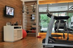 Jardim E Lazer - Fitness - About Home Sala Fitness, Love Fitness, Fitness Studio, My Gym, At Home Workouts, Home Office, Gym Equipment, Yard, House