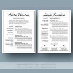 Professional Resume Template  Cv Template  Cover Letter For Ms