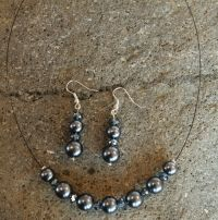 Dark Silver Necklace and Earring Set