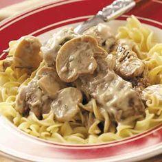 Mushroom 'n' Steak Stroganoff Recipe   Taste of Home Recipes
