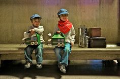 """my boys at union station before our train ride to glenwood springs with their train """"crafty meal"""" boxes."""